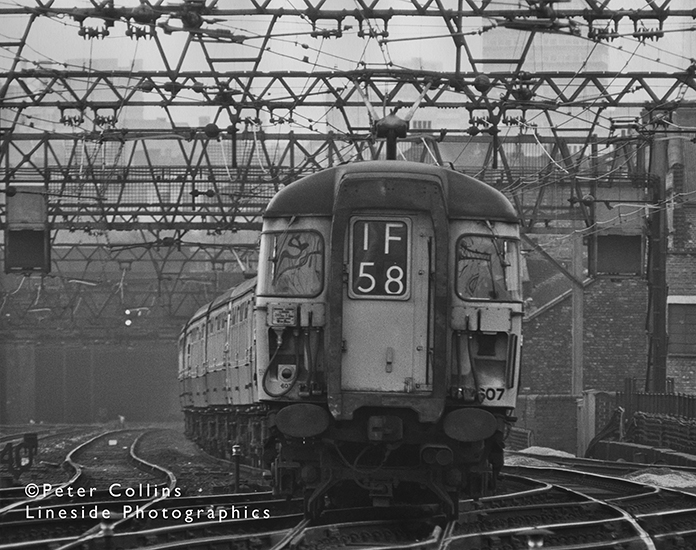 Class 309 Clacton EMU 309 607 sways over point-work as it makes it's way out of London and on to the Essex coast some time in the 1970s.