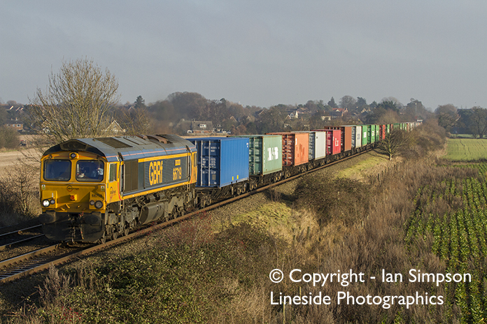 GBRf Class 66 66719 climbs away from Thurston with the diverted 4M23 10.46 Felixstowe North to Hams Hall Parsec on Wednesday 28th December.
