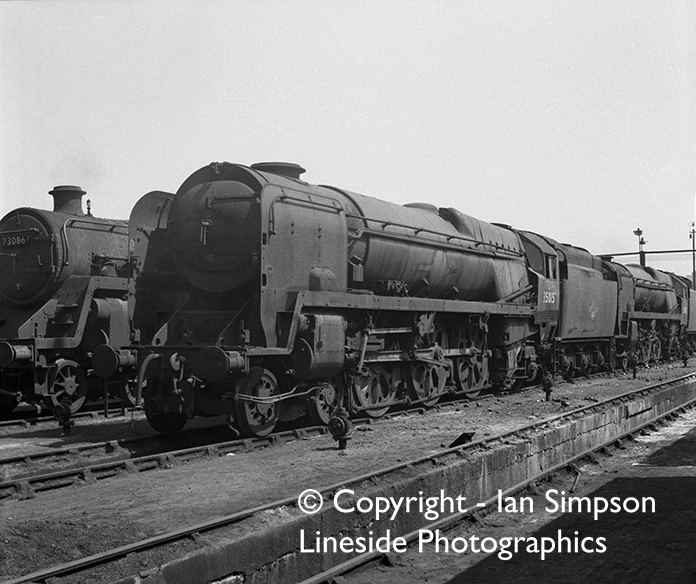 Re-built Bullied Merchant Navy Pacific locomotives 35015 'Rotterdam Lloyd' and 35012 'Union Castle' both await their fate at Nine Elms Shed some time in 1964. BR Standard Class 5 73086 'The Green Knight' sits simmers next to them; her fate was still another two years away.