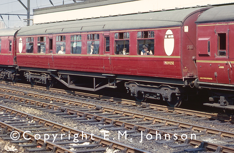 Thompson Vestibule coach M13925E (ex E13925E) is seen in an LM Region train at Stockport Station in the late 1960s.