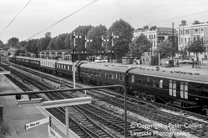 The stock of the Royal Train, with what we believe is 47086 'Colossus' at the front, awaits departure from Kensington Olympia some time between Summer 1974 and Summer 1977.