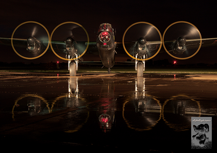 The Battle of Britain Memorial Flight's Lancaster, PA474 'City of Lincoln', at RAF Coningsby at a night shoot on 21st September 2012.