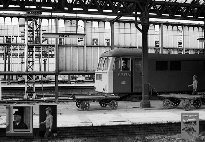 An interesting mixture of the modern railway of the 1970s with traditional adjuncts as AL6 Class 86 number E3176 awaits departure southbound from Crewe with a West Coast express whilst all around are period trollies and the flagstones of years past. Note how much parcels traffic was still being conveyed by rail.
